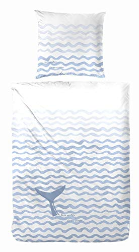 Primera Bettwäsche Renforcé hellblau-weiß Größe 135x200 cm (80x80 cm)