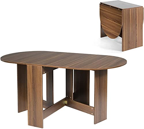 CASART Drop Leaf Dining Table, Wooden Folding Kitchen Tables, Small Space Saving Extending Writing Desk Workstation for Working, Dining, Studying