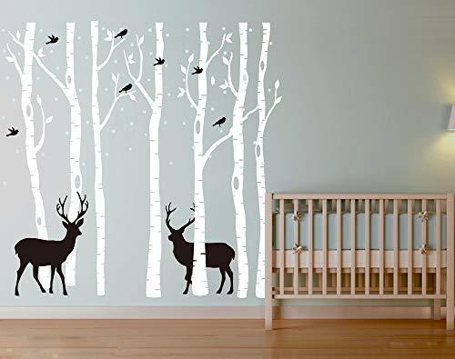 AIYANG Birch Tree Wall Stickers Birke Baum Wandtattoo Wohnzimmer Schlafzimmer Aufkleber Kinder Zimmer Wandmalereien Tapete Poster Wall Art Schlafzimmer Wohnzimmer Dekoration (7Sets-White)