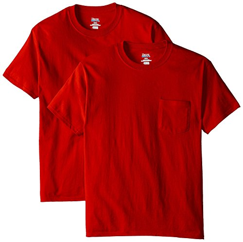 Hanes Beefy-T Adult Pocket T 2PK_Deep Red_S