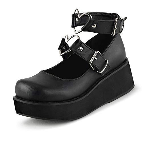 Erocalli Platform Lolita Shoes for Women Wedges Heels Ankle Strap Mary Jane Shoes Kawaii Heart Platform Pumps Black