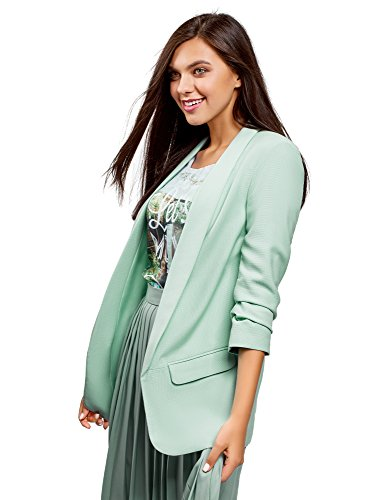 oodji Ultra Donna Blazer in Lino Slim Fit, Verde, IT 42 / EU 38 / S