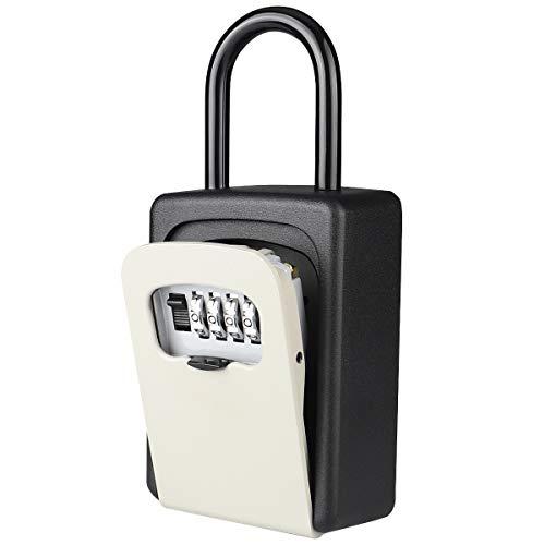 Akayi キーボックス 鍵収納 4桁ダイヤル 壁掛け鍵 南京錠式 防犯 盗難防止 車用鍵ボックス