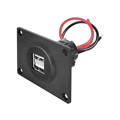 Double Prise d'alimentation USB avec Plaque de Montage, 0.15m Cble Longueur, Noir