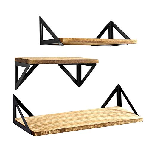 Floating Shelves Wall Mounted Set of 3, Rustic Wood Wall Shelves,Storage Shelves for Bedroom, Living Room, Bathroom, Kitchen, Home Office and More