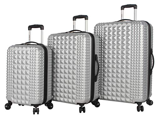 Steve Madden B-2 Hard Case 3 Piece Spinner Suitcase Set Collection (One Size, Armor Silver)