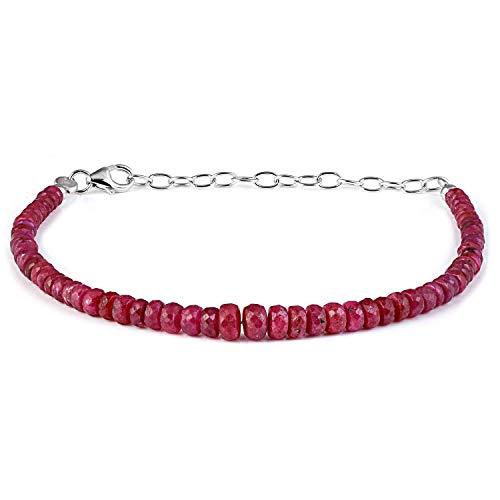 Vatslacreations AAA Quality Ruby Bracelet, Beaded Ruby Bracelet, Gemstone Ruby Bracelet, July Birthstone Bracelet Beaded Gemstone Jewelry for Her