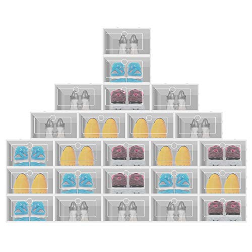 SHNORM Transparent Shoe Storage Box - Folding Large Size Cabinet Unit Easy Assembly, Stackable Shoe Storage Box with Lid for Women/Men (24/12/6Pcs) (#2:24Pcs with Lid, White)