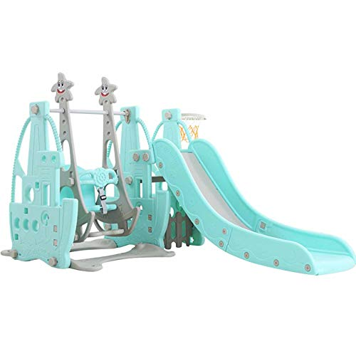 ETHY Kids Climber Slide Set, Freestanding Slide Playset with Climbing Stairs,Swing Seat,Basketball Hoop, Activity Center for Baby Toddlers Backyard Playground Indoor Outdoor Game