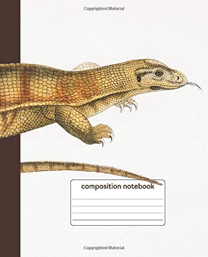 Composition Book: Yellow Monitor Lizard Cover | Pet Reptile Notebook | Science Class Notebook | Wildlife Vintage Illustration Varanus Flavescens | Iguana Gecko Herpetology