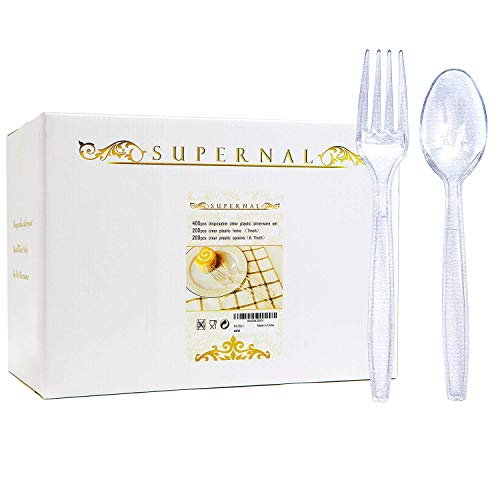 Plastic Silverware 400pcs Disposable Clear Plastic Silverware Crystal Plastic Cutery Plastic forks and Spoons 200 forks and 200 spoons Supernal
