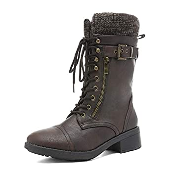 DREAM PAIRS Women s Amazon Brown Mid Calf Combat Riding Boots Size 8 M US