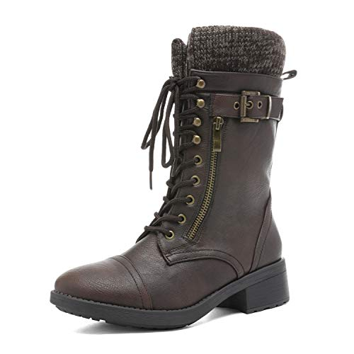 DREAM PAIRS Women's Amazon Brown Mid Calf Combat Riding Boots Size 7 M US