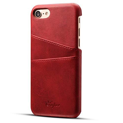 iPhone8 iPhone SE ケース [第2世代] iPhone7 ケース レザー カード収納背面 2枚 軽量 薄型 耐衝撃 カード入れ アイフォン7 イフォン8 背面ポケット カバ― (iPhone7/8, レッド)