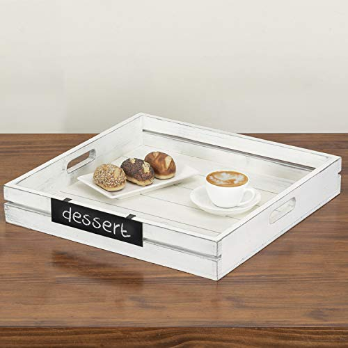 MyGift 19-Inch Square Vintage White Wood Ottoman Serving Tray with Removable Chalkboard Panel
