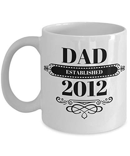 N\A Taza de café para papás Papá estableció 2012 Taza de té de cerámica Regalo del día del Padre Regalos de cumpleaños Lindos Año de Nacimiento del niño