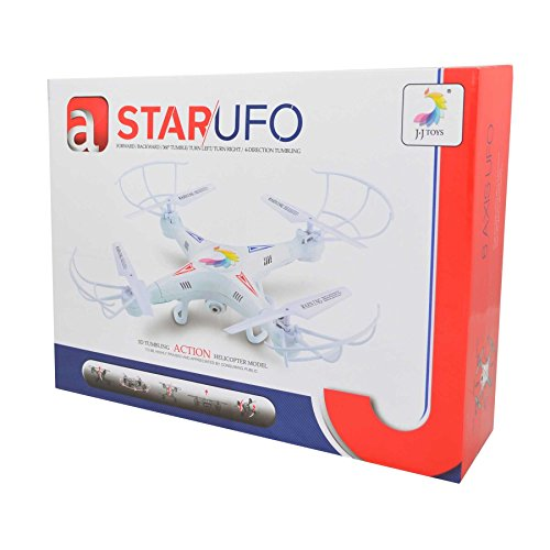 Gifts 4 All Occasions Limited SHATCHI-1367 Star UFO Quadcopter RC Helikopter 6-assige 3D Tumbling HD Camera Multi