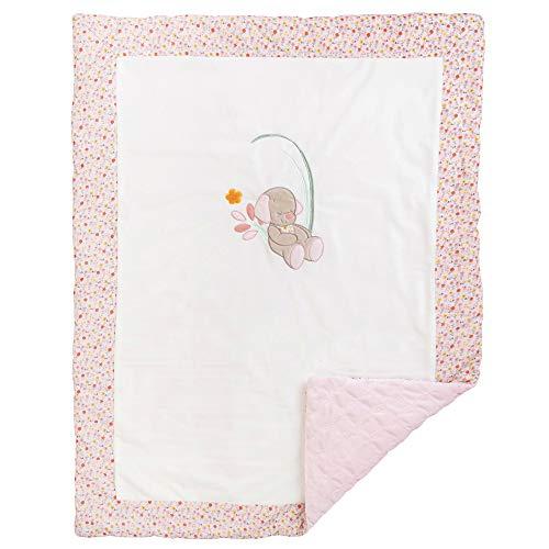 Nattou 631419 - Manta para bebé del perro lali, 75 x 100 cm, iris y lali, blanco/rosa, niñas