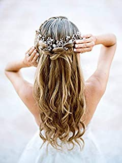 Catery Bride Wedding Headband Silver Leaf Pearl Hair Vine Braid Headpiece Bridal Hair Accessories for Women and Girls