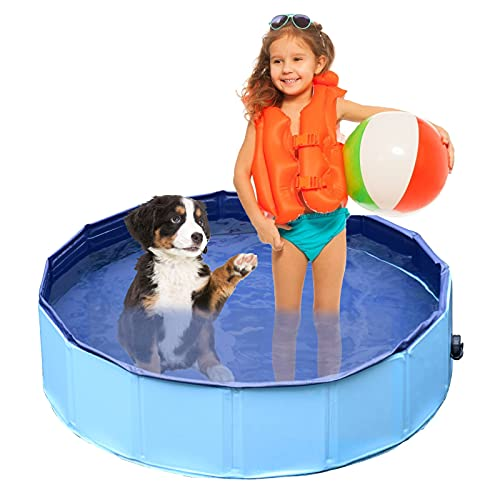Jsdoin Dog Paddling Pool, Foldable Pet Kids Bath Pool Swimming Pool, Non-Slip Outdoor PVC Dog Pool, Portable Pet Dog Cat Bathing Tub For Garden Patio Bathroom(80*20cm)