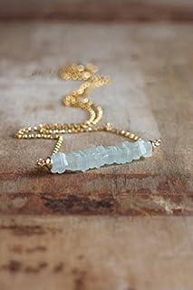 Collar de barra de aguamarina en plata u oro rellenado, piedra natal de marzo, joyería de aguamarina, collar de barra azul...