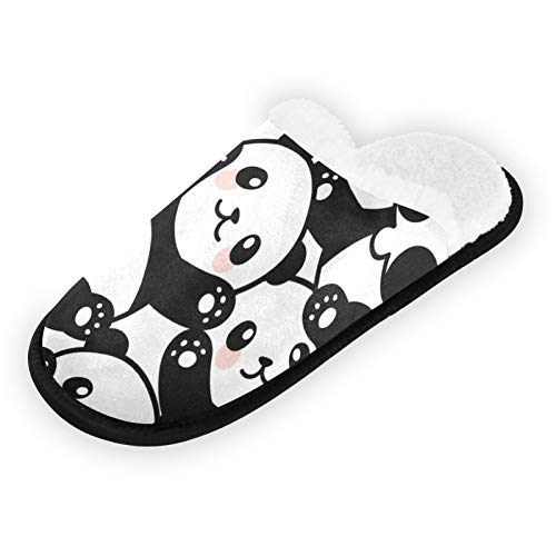 Qilmy Cute Panda Plush Travel Slippers for Woman and Man Warm Soft Coral Lining Non Slip Slippers Slides Indoor Outdoor Slippers M