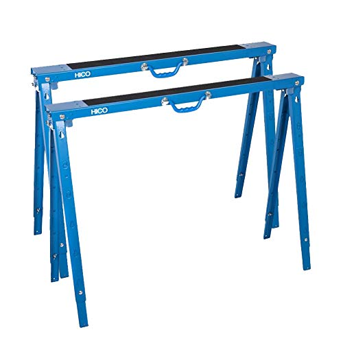 HICO Sawhorse Folding Legs Portable Metal Heavy Duty - Adjustable 5 Heights Twin...