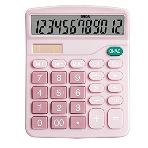 Función de la calculadora de escritorio estándar de pantalla LCD de la calculadora electrónica botón básico grande de 12 dígitos grande para la Oficina Daily Rosa computadora de oficina