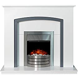 "The pure white and grey make a modern combination, and nowhere does it look better than on the Adam Tuscany. Surround: Pure white Back Panel and Hearth: Pure white Inset cut out: (H): 22.5"" x (W): 16.5"" Downlights: Yes Assembly: Part Assembled Fittin..."