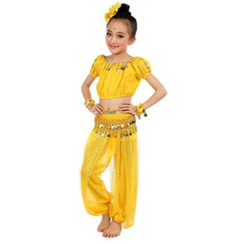 Andouy Mädchen Indische Kleidung Bollywood Orient Kleid Bauchtanz mit Zubehör für Halloween Karneval(XL.Gelb)