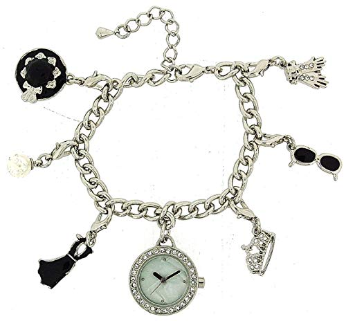 Hollywood Legends Audrey Hepburn Silver Charm Bracelet Fashion Watch W27/29M