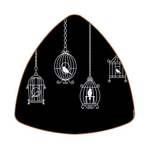 Posavasos triangular para bebidas, diseño de jaula de pájaros, de cuero, para proteger muebles, resistente al calor, decoración de bar, juego de 6