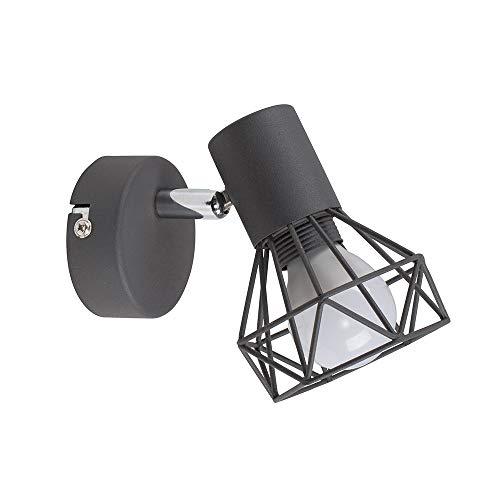 MiniSun – Lampada da parete orientabile con una finitura grigia satinata 'Gabbia' - nella forma di un cesto metallico nello stile retrò – lampada da muro