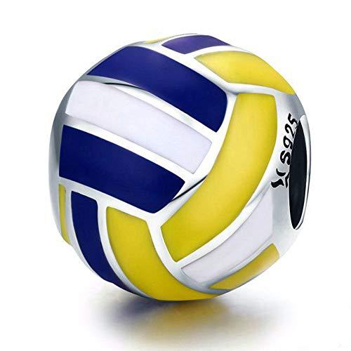 Reiko Volleyball Bead Charms aus 925 Sterling Silber für Mädchen und Frauen, Anhänger für Armbänder und Halsketten