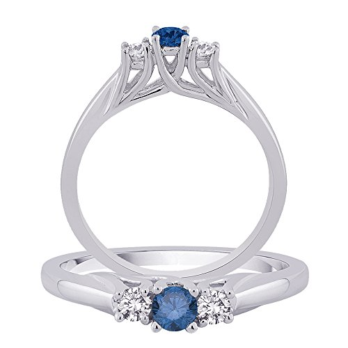 Centre Diamant Bleu pierres diamant Bague en or blanc 14 K (1/2 carat au total)
