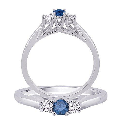 Centre Diamant Bleu pierres diamant Bague en or blanc 14K (1/2carat au total)