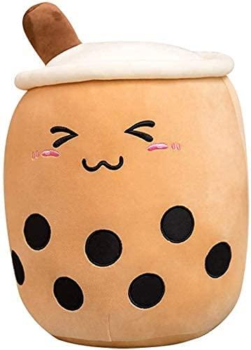 Linanjiesi - Cojín de peluche con forma de taza, 29,4 cm, diseño de té burbuja relleno, cojín de cuerpo cilíndrico, muy suave, cojín de peluche realista, regalo para alimentos