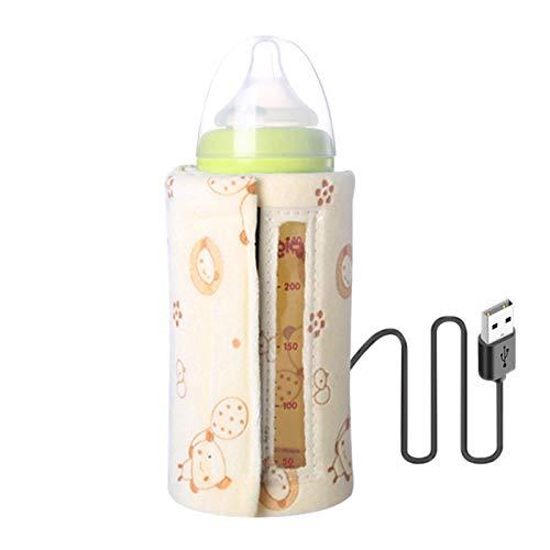 Jiakalamo Calentador de botella de viaje USB para leche caliente, botella de alimentación infantil calentada, mantiene la leche o el agua caliente (visible, amarillo)
