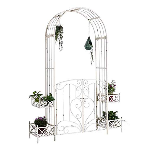 QLLL Garden Arch with Planters, Weatherproof, for Climbing Plants Roses Vines, Distressed Design, White