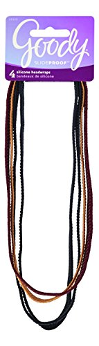Goody SlideProof Extra-Thin Headwraps, Assorted Colors, 4-count