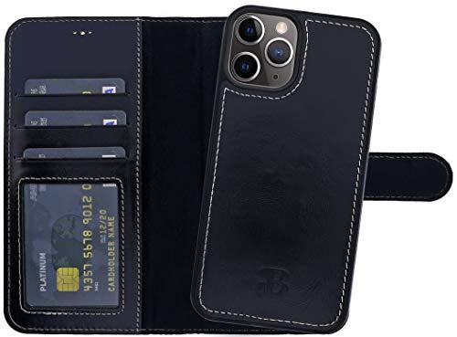 Burkley Handyhülle für iPhone 12 / iPhone 12 Pro Leder-Hülle mit Abnehmbarer Schutz-Hülle kompatibel mit Apple iPhone 12 Hülle Cover - TÜV geprüfter RFID Schutz (Schwarz)
