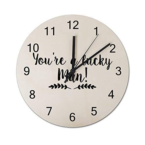 Reloj de Pared de Madera Redondo rústico silencioso Que no Hace tictac de 10 Pulgadas Eres un Hombre Afortunado Decoración de Pared de Granja Vintage para el hogar, la Oficina, la Escuela