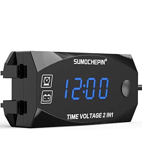 Reloj digital, 2 en 1 con pantalla LCD, voltímetro para interiores y exteriores, multifuncionales, con función de luz negra, decoración del interior del coche, 57 x 29mm