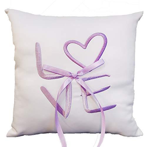 Ringkissen Weiß Lila für die Hochzeit, Kissen für Trauringe, mit Stickerei und Schleife in Flieder Lila, 19,5 x 19,5 cm