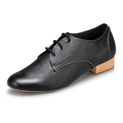MINITOO Herren 1 Inch Standard Heel Solid Schwarz Glattleder Social Tanzschuhe EU 43.5