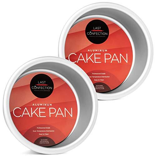 Last Confection 2-Piece Round Cake Pan Set - 4' x 2' Deep Aluminum Pans
