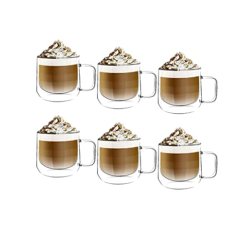 [6-Pack, 8.5Oz]DESIGN•MASTER - Premium Oval Double Wall Insulated Glass with Handle, Coffee or Tea Glass Mugs, Temperature Isolated Glass, Perfect for Latte, Cappuccino, Americano, Tea and Beverages