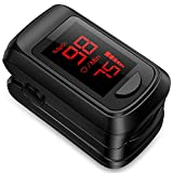 Pulse Oximeter Fingertip Blood Oxygen Saturation Monitor,Heart Rate Monitor and Fast Spo2 Reading Oxygen Meter with LED Screen, Included Batteries and Lanyard
