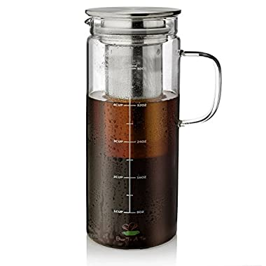 BTäT- Cold Brew Coffee Maker, 1.5 Quart,48 oz Iced Coffee Maker, Iced Tea Maker, Airtight Cold Brew Pitcher, Coffee Accessories, Cold Brew System, Cold Tea Brewing, Coffee Gift, Tea Maker with Infuser