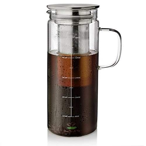 BTaT- Cold Brew Coffee Maker, 1.5 Quart,48 oz Iced Coffee Maker, Iced Tea Maker, Airtight Cold Brew Pitcher, Coffee Accessories, Cold Brew System, Cold Tea Brewing, Coffee Gift, Tea Maker with Infuser